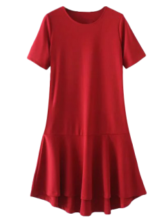 Peplum Hem Shift Dress - Red S