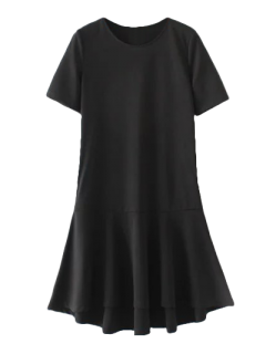 Peplum Hem Shift Dress - Black S
