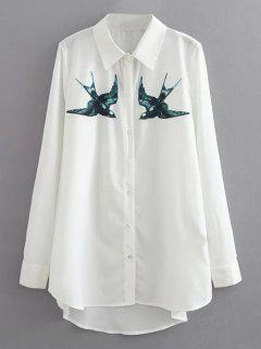 Swallow Print Casual Shirt - White S