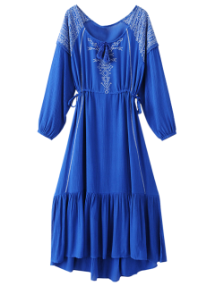 Bohemian Drawstring Embroidered Maxi Dress - Blue M