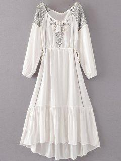 Bohemian Drawstring Embroidered Maxi Dress - White S