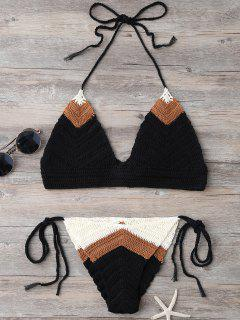 Knitted String Bikini Set - Black