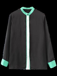 Mandarin Collar Color Block Shirt - Black S