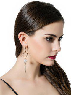 Boucles D'oreilles à Pendants De Cercles De Barres Et Perles Artificielles - Or