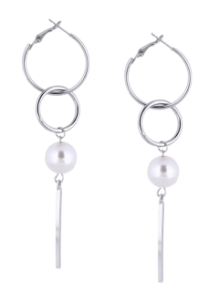 Artificial Pearl Circle Bar Earrings - Silver