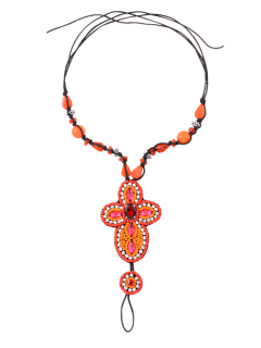 Artificial Gem Rhinestone Bead Hippie Anklet - Orange