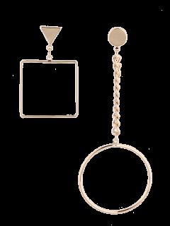 Boucles D'oreilles Asymétriques En Alliage De Chaîne Et Cercles Géométriques - Or