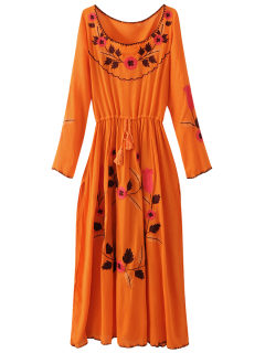 Floral Embroidered Long Sleeve Slit Vintage Dress - Orangepink M