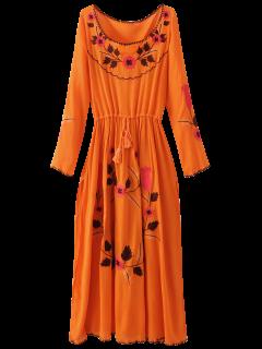 Robe Entaillée à Broderies Florales Et à Manches Longues - Orange Rose M