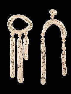 Asymmetric Vintage Drop Earrings - Golden