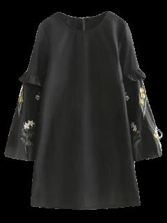 Robe Noire Aux Manches Brodées - Noir S