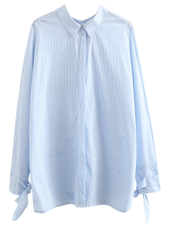 Tie Back Striped Boyfriend Shirt - Light Blue M