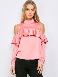 Tenez-Neck Cold Shoulder Volants Blouse - Rose  M