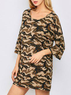 Oversized Camouflage Casual Dress - Brown M