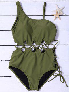 Slimming Lacing Asymmetric Swimsuit - Army Green 2xl