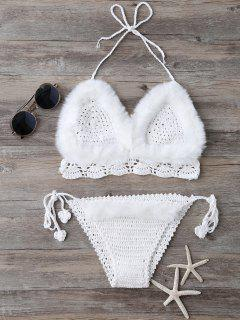 Tie Halter Faux Fur Knitted Bikini Set - White