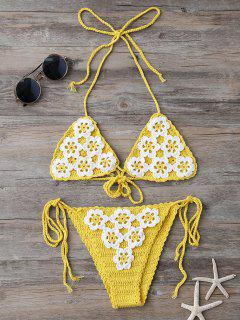 High Cut Tie Side Crochet Bikini Set - Yellow