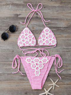 High Cut Tie Side Crochet Bikini Set - Pink
