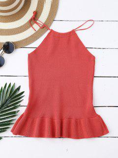 High Neck Ruffle Hem Knitted Tank Top - Watermelon Red