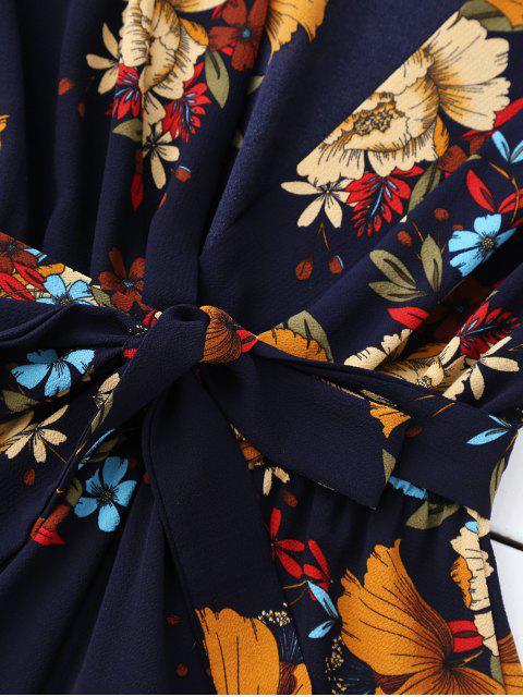 women's Bell Sleeve Floral Plunging Neck Romper - PURPLISH BLUE S Mobile