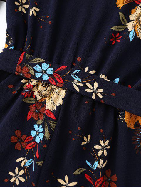 best Bell Sleeve Floral Plunging Neck Romper - PURPLISH BLUE XL Mobile