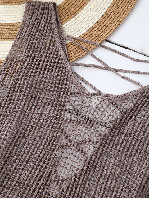 hot High Low Lace Up Crochet Top - OLIVE GREY ONE SIZE Mobile