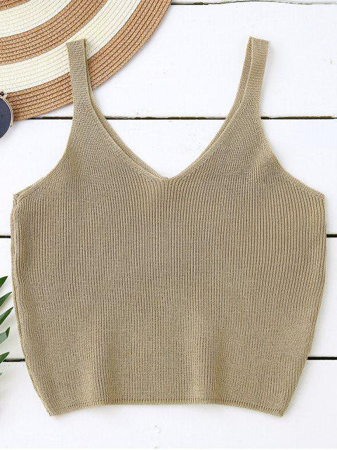Stricken bauchfreies Tank Top - Dark Khaki  Mobile