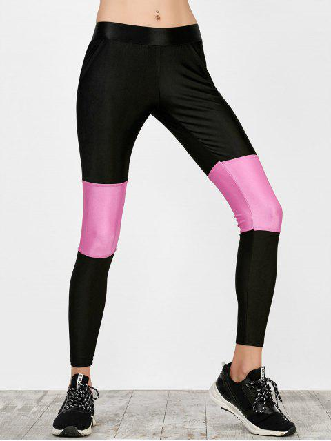 Taille haute Color Block Leggings Workout - Noir S Mobile