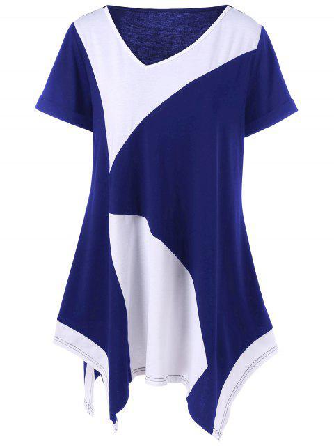 T-shirt Asymétrique Grande Taille à Manches Retroussées - Bleu et Blanc 2XL Mobile