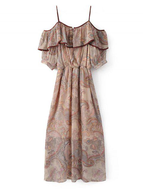 new Frilly Cold Shoulder Chiffon Dress - BEIGE S Mobile