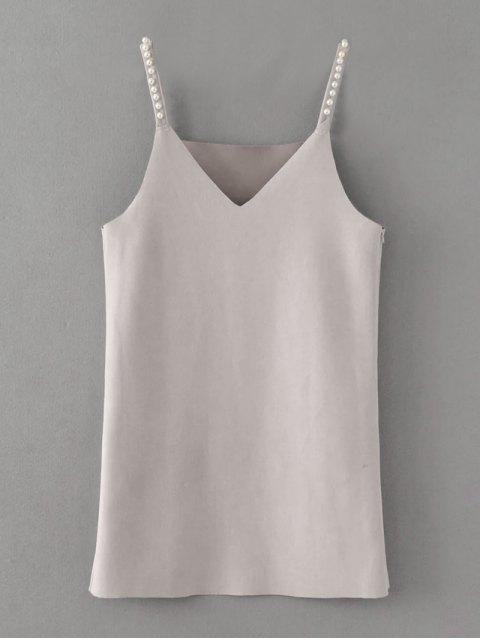 chic Beaded Faux Suede Slip Dress - GRAY M Mobile