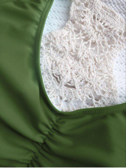affordable Crochet Panel Racerback Bikini - ARMY GREEN L Mobile