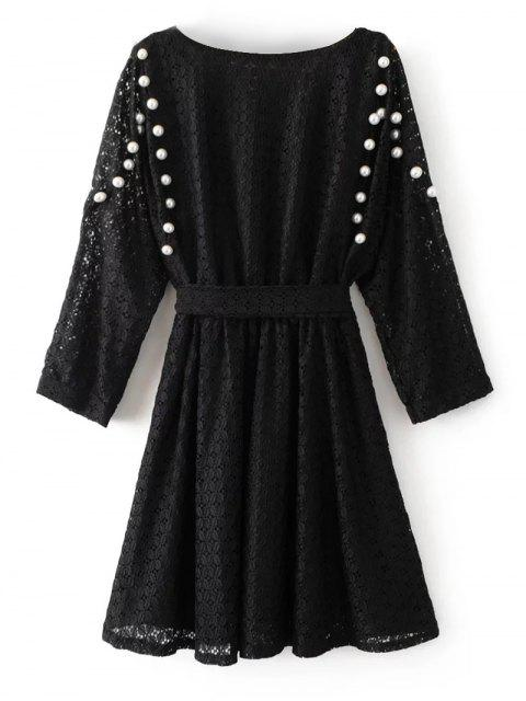 online Mini Beaded Lace Dress - BLACK L Mobile