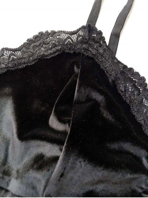 shops Lace Panel Velvet Bodysuit - BLACK L Mobile
