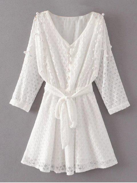 outfit Mini Beaded Lace Dress - WHITE L Mobile