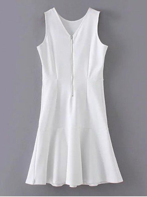 women Peplum Hem Sleeveless Sheath Dress - WHITE S Mobile