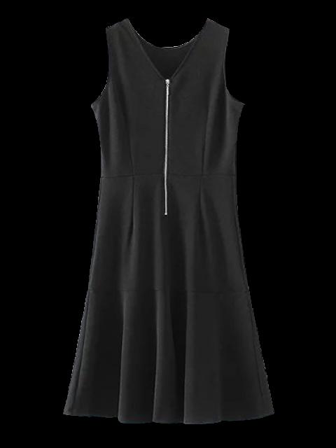 Robe ajustée sans manches à ourlet péplum - Noir S Mobile