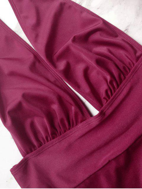 new Backless High Leg Swimwear - PURPLISH RED L Mobile