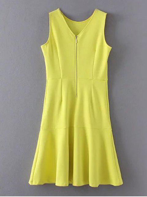 lady Peplum Hem Sleeveless Sheath Dress - YELLOW S Mobile