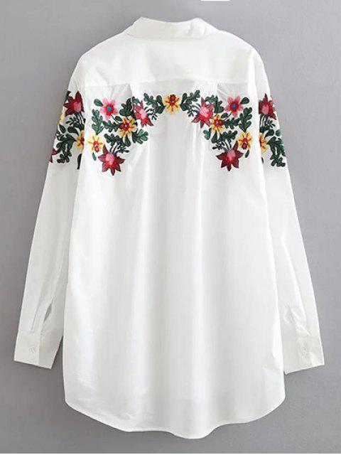 fashion Floral Embroidered Cotton Collared Shirt - WHITE S Mobile