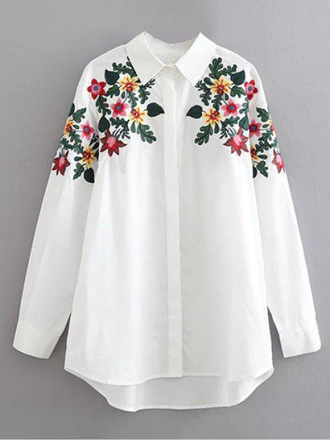 latest Floral Embroidered Cotton Collared Shirt - WHITE L Mobile