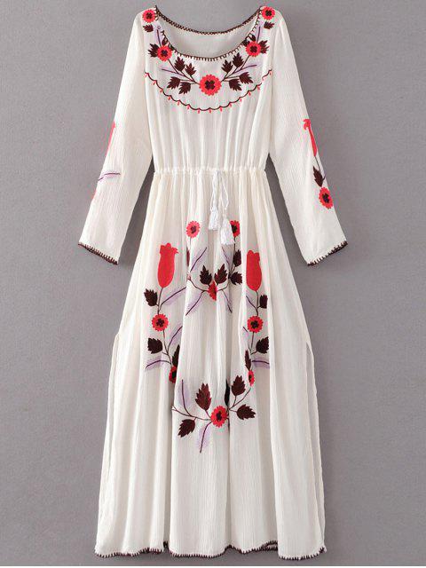 fancy Floral Embroidered Long Sleeve Slit Vintage Dress - WHITE L Mobile