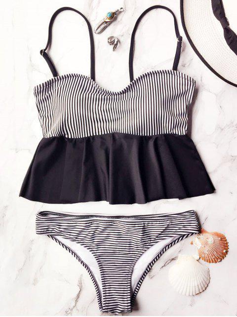 women's Cami Striped Peplum Tankini - WHITE AND BLACK L Mobile