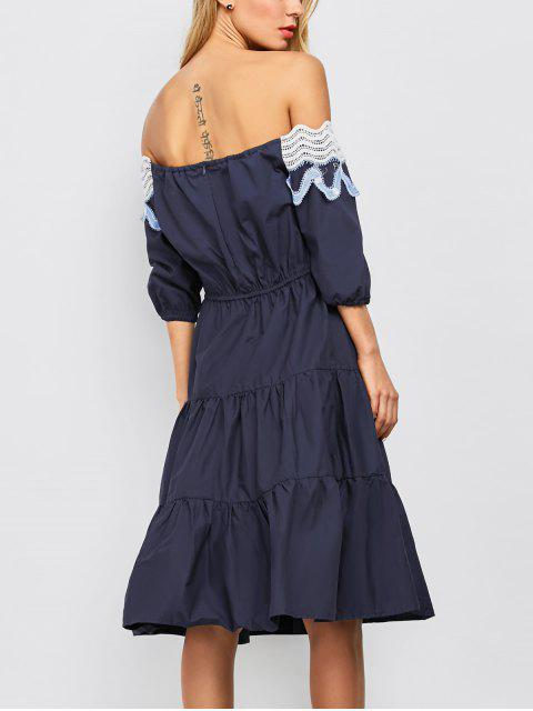 new Off The Shoulder Midi Tiered Dress - NAVY BLUE S Mobile