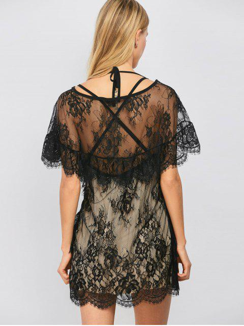womens Flounced See-Through Lace Dress - BLACK S Mobile