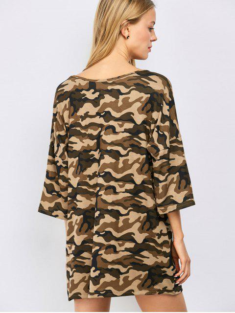 women Oversized Camouflage Casual Dress - BROWN M Mobile