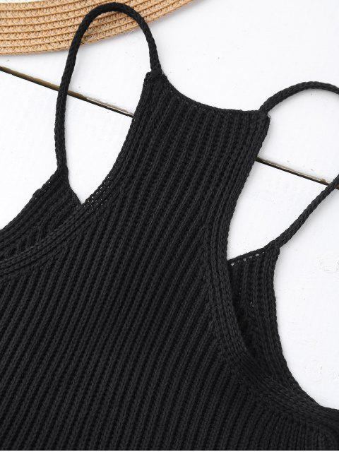 latest Knitted Cropped Cami Top - BLACK ONE SIZE Mobile