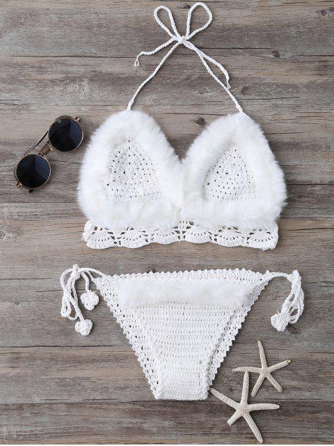 Tie Halter en fausse fourrure tricotée Bikini - Blanc TAILLE MOYENNE Mobile