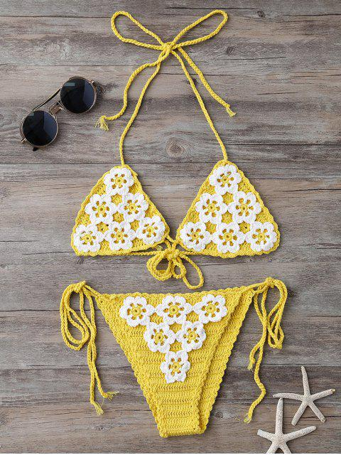 trendy High Cut Tie Side Crochet Bikini Set - YELLOW ONE SIZE Mobile