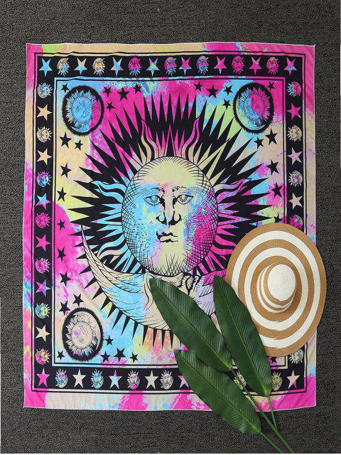 new Moon and Sun Print Tapestry Beach Throw - MULTICOLOR ONE SIZE Mobile